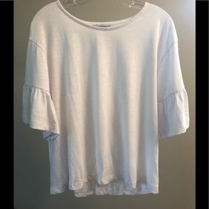 White Flutter Sleeve Zara T-Shirt Small